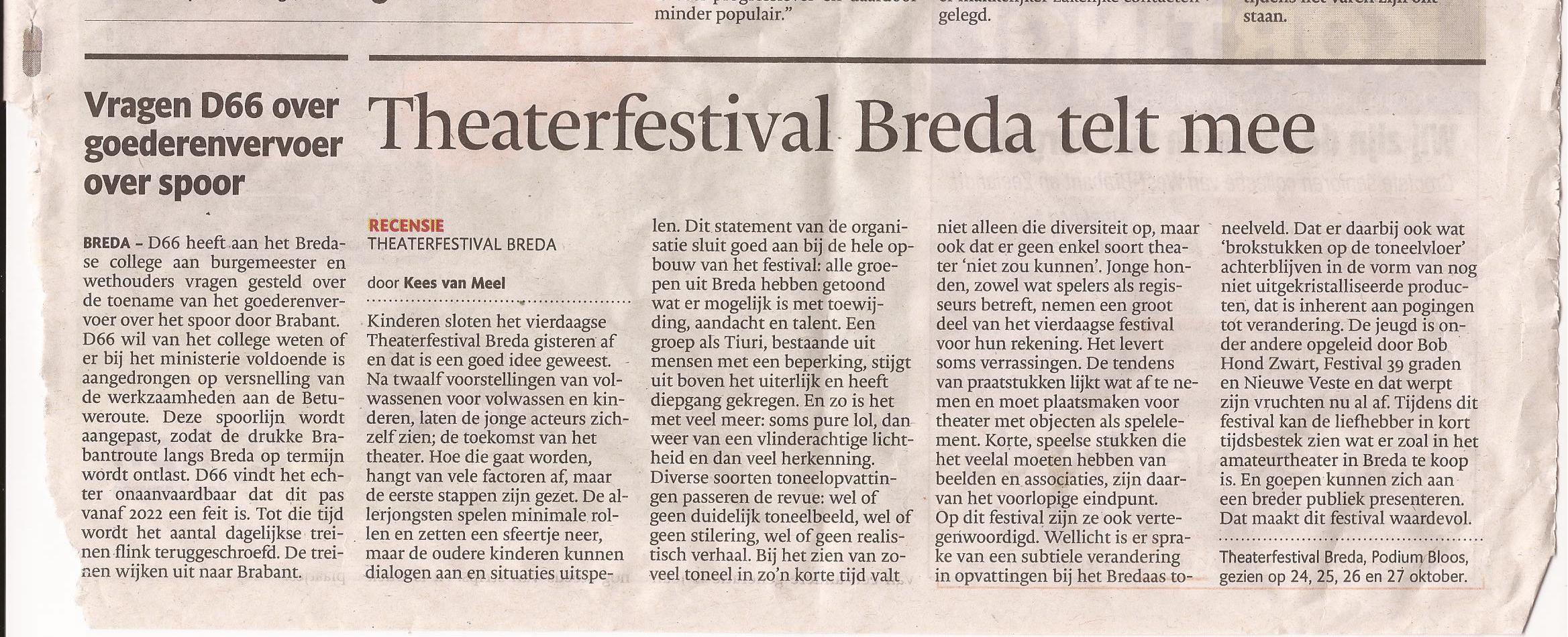Recensie Theaterfestival Breda - okt. 2013