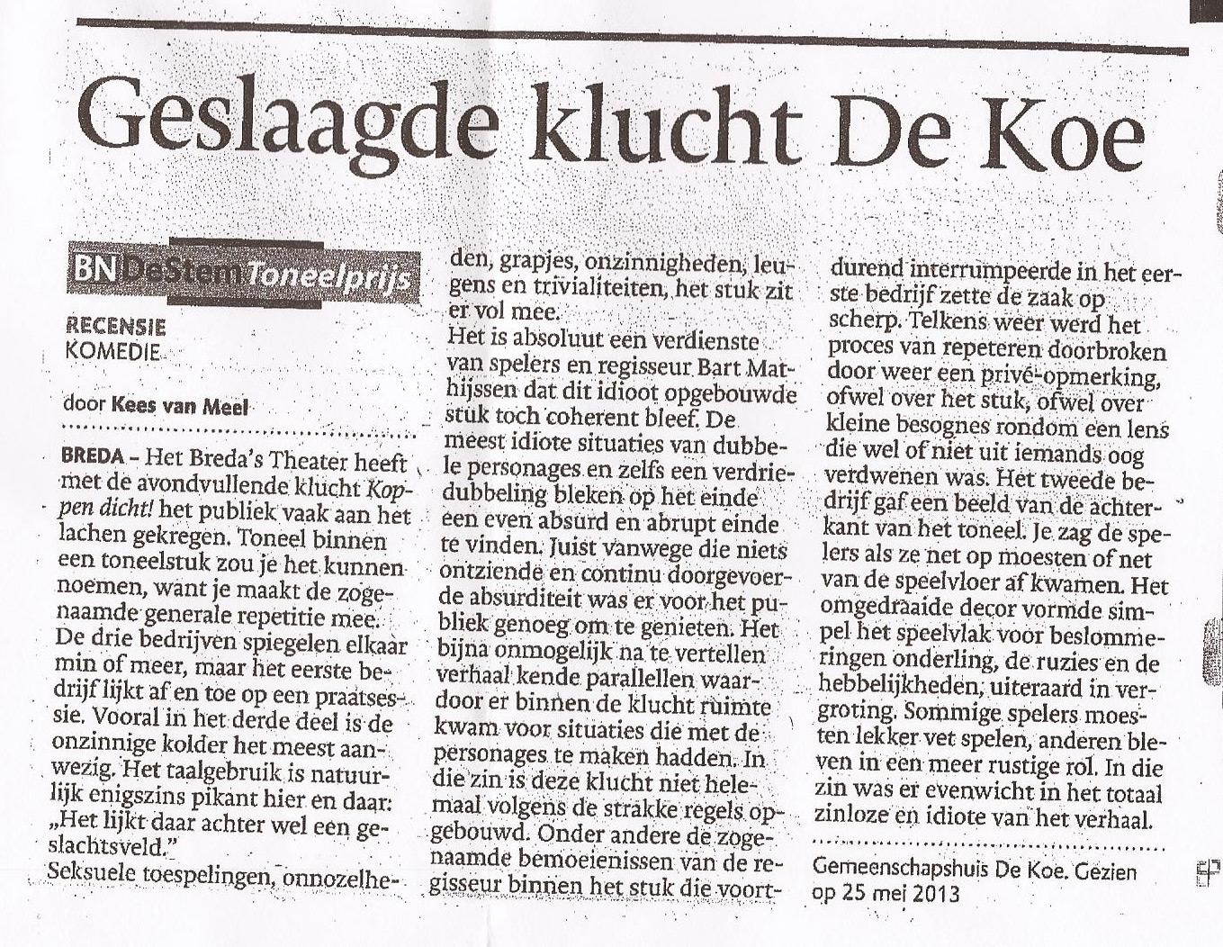 Recensie Koppen Dicht - mei 2013